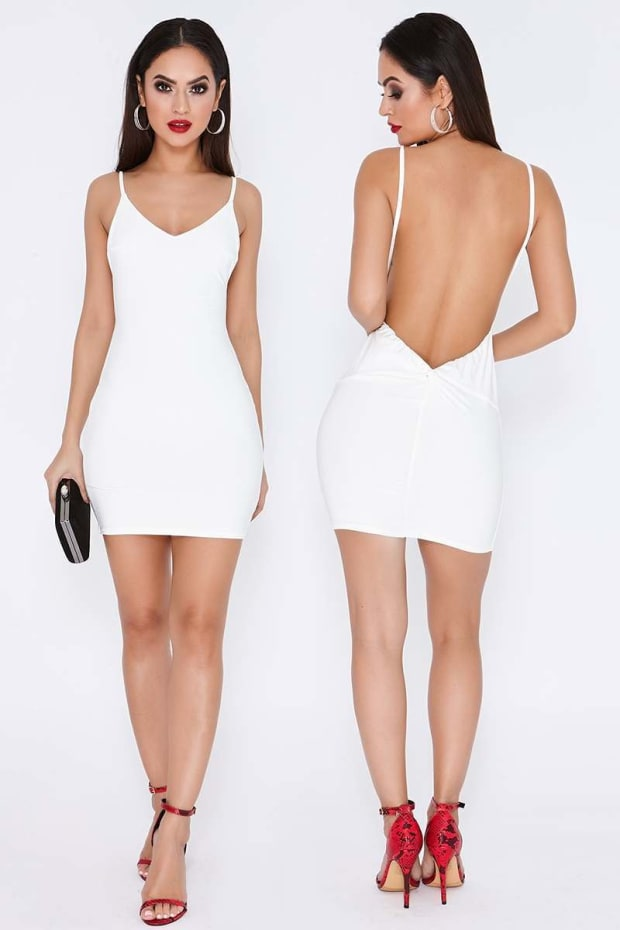 TAMMY HEMBROW WHITE RUCHED KNOT DETAIL SLINKY MINI DRESS