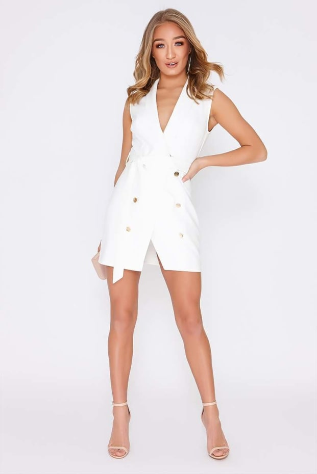 fcf333e2185 Tammy Hembrow White Wrap Front Blazer Dress