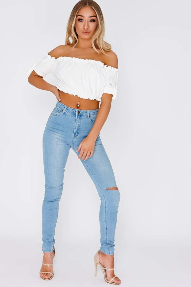 LAYLA LIGHT WASH RIPPED KNEE HIGH WAISTED SKINNY JEANS