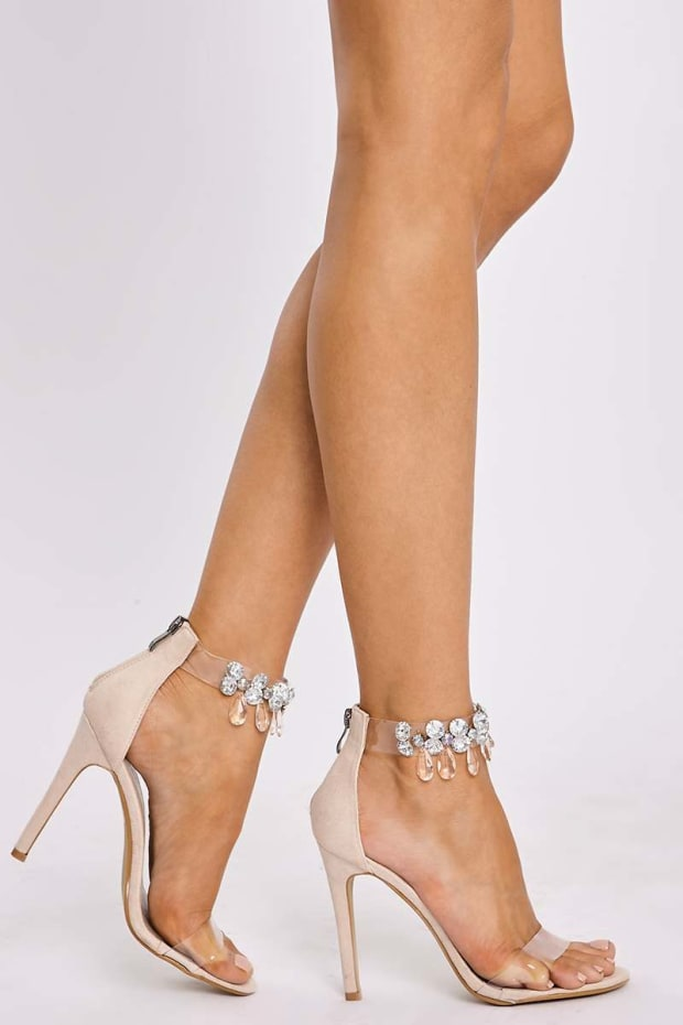 ALIX NUDE JEWEL CLEAR STRAP BARELY THERE HEELS