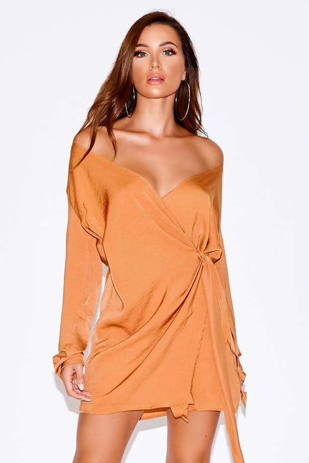 BINA ORANGE SILKY WRAP SHIRT DRESS