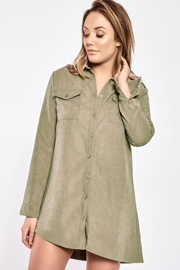 CHARLOTTE CROSBY KHAKI SUEDETTE UTILITY SHIRT DRESS
