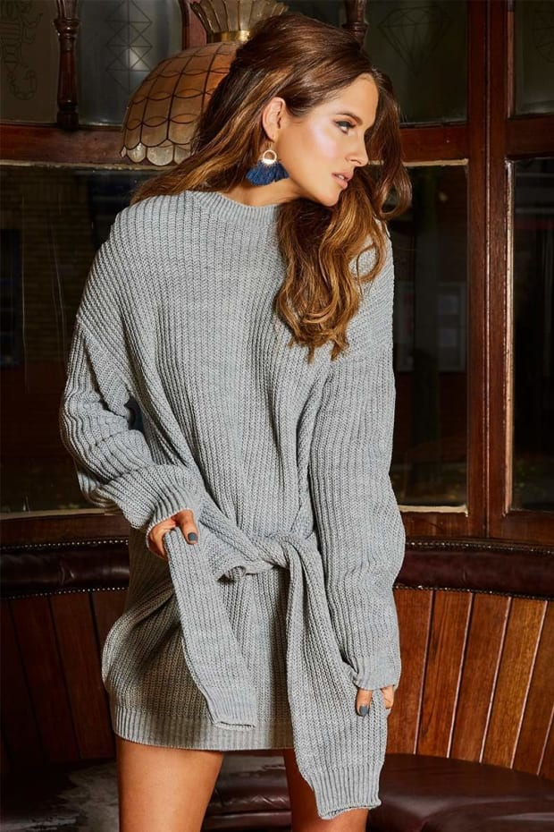 BINKY GREY TIE DETAIL JUMPER DRESS