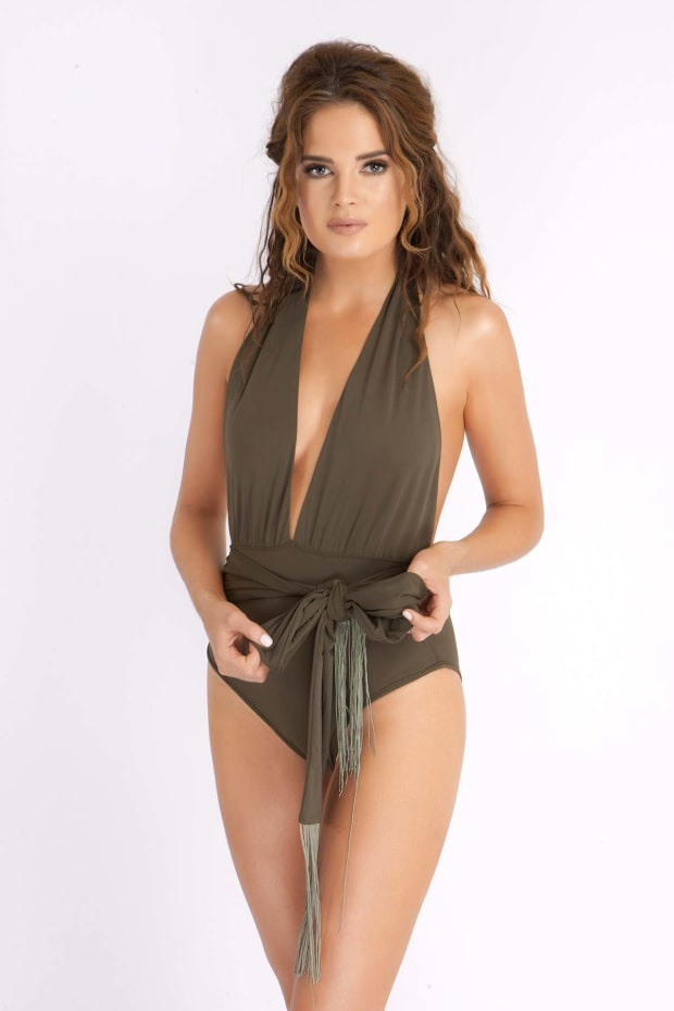 BINKY KHAKI PLUNGE SWIMSUIT WITH FRINGE