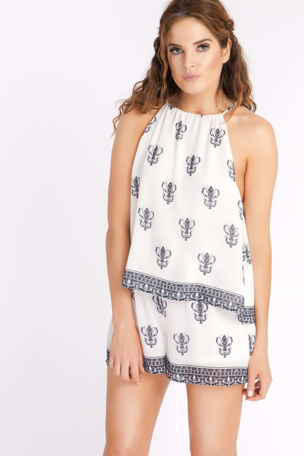 BINKY BORDER PRINT DOUBLE LAYER PLAYSUIT