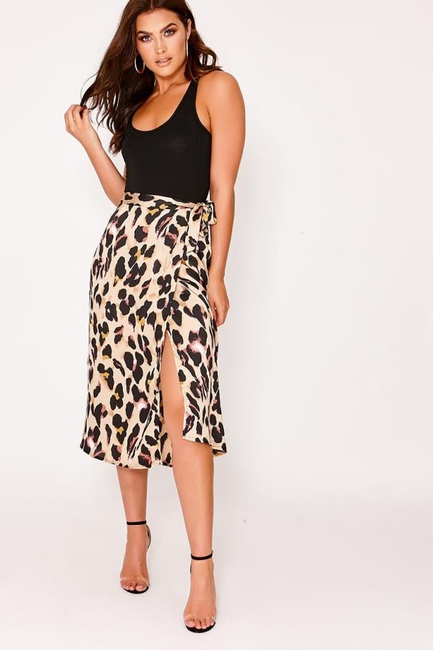 2123e026ef6 Ozi Leopard Print Satin Wrap Front Midi Skirt