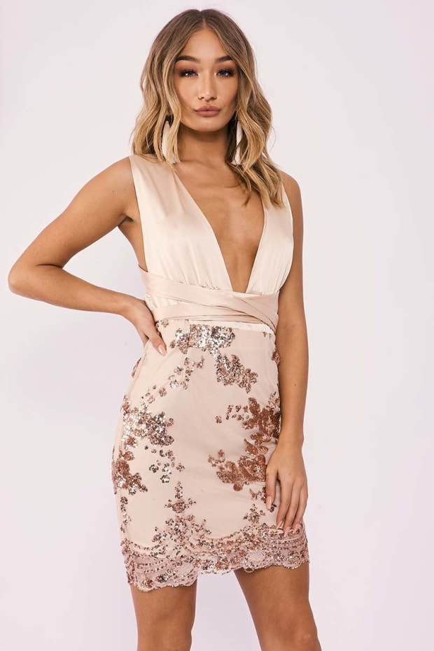 EMBERLEY ROSE GOLD FLORAL SEQUIN MULTIWAY DRESS