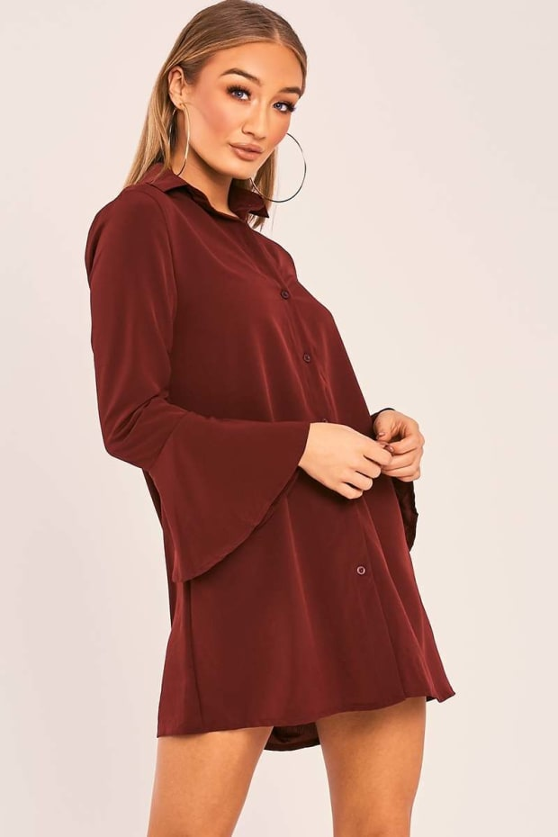 CHARLIZE WINE FLARED SLEEVE SILKY SHIRT DRESS
