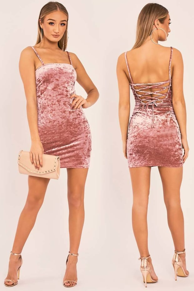 DELYN ROSE CRUSHED VELVET LACE UP BACK MINI DRESS