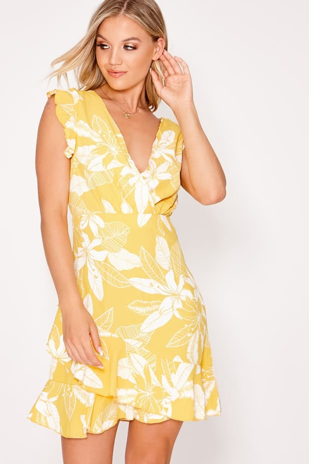 EDMEY YELLOW FLORAL TIE BACK WRAP FRILL DRESS