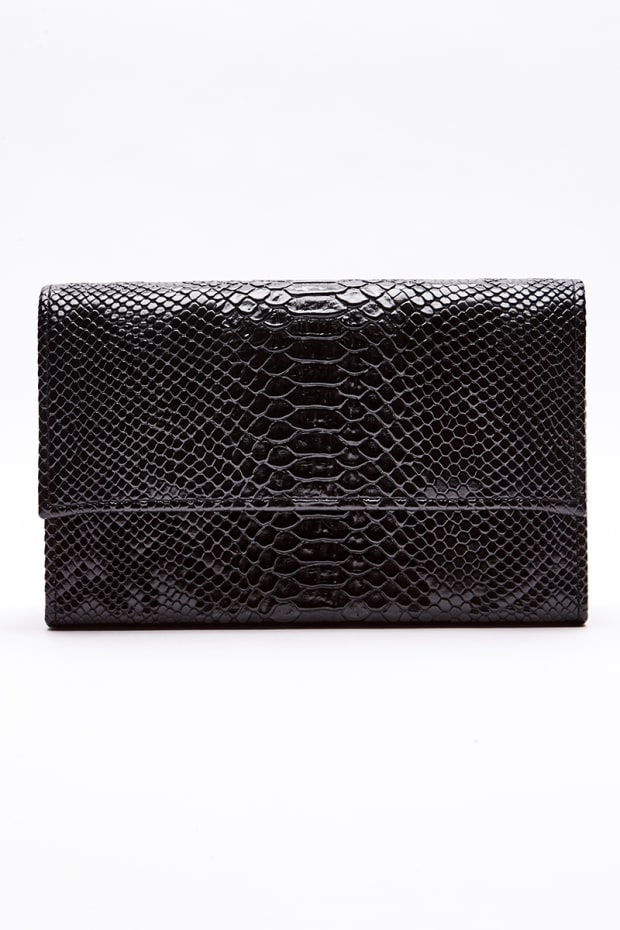 BLACK FAUX CROC CLUTCH BAG