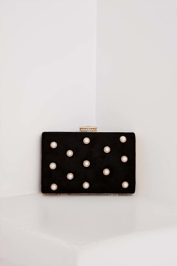 BLACK FAUX SUEDE PEARL DETAIL HARD CLUTCH BAG