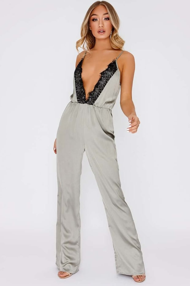 ZEN GREEN LACE TRIM PLUNGE SILKY JUMPSUIT