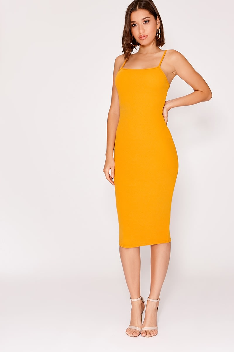 6696dd0173d Nickaila Mustard Crepe Square Neck Midi Dress