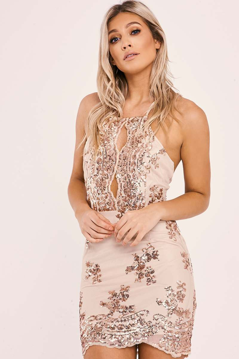 3d907507819 Baila Rose Gold Floral Sequin Halterneck Mesh Mini Dress