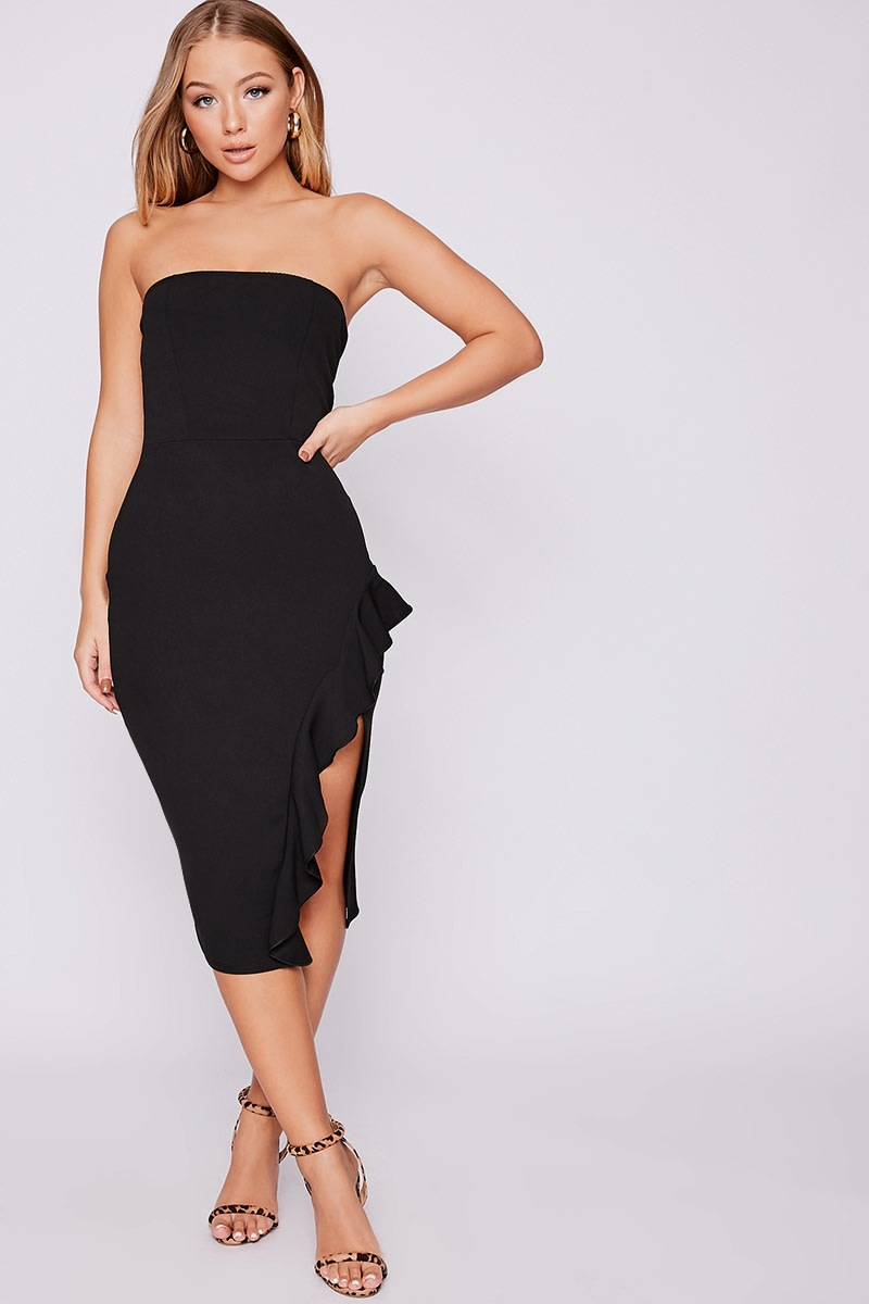 a93cb571550 Billie Faiers Black Bandeau Frill Side Midi Dress