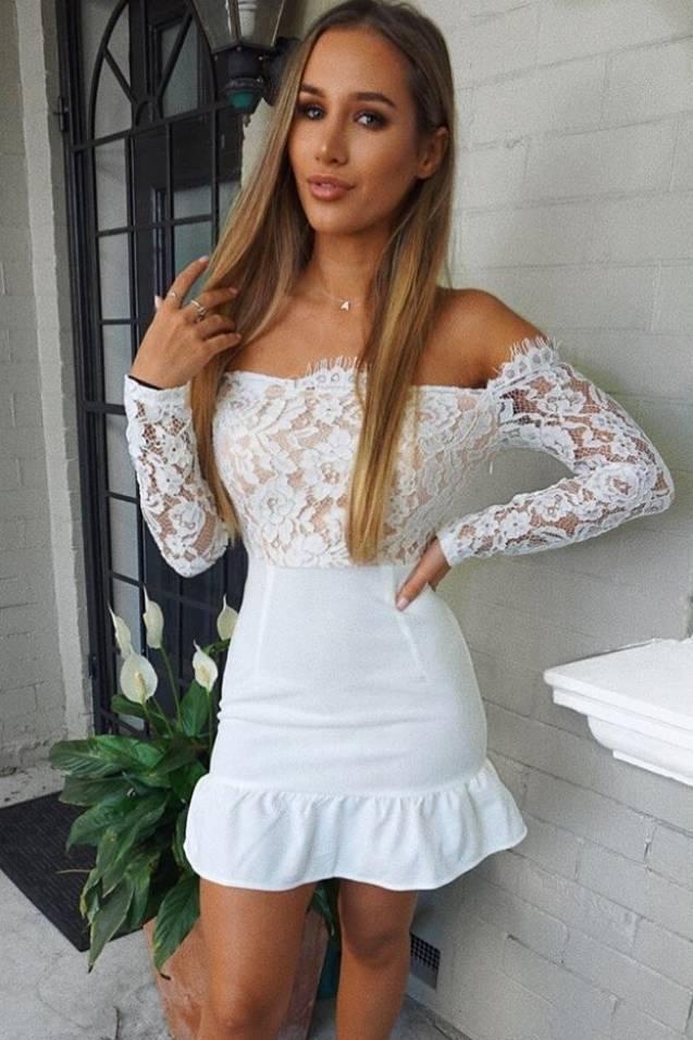5677e2159e1 Billie Faiers White Bardot Eyelash Lace Peplum Dress