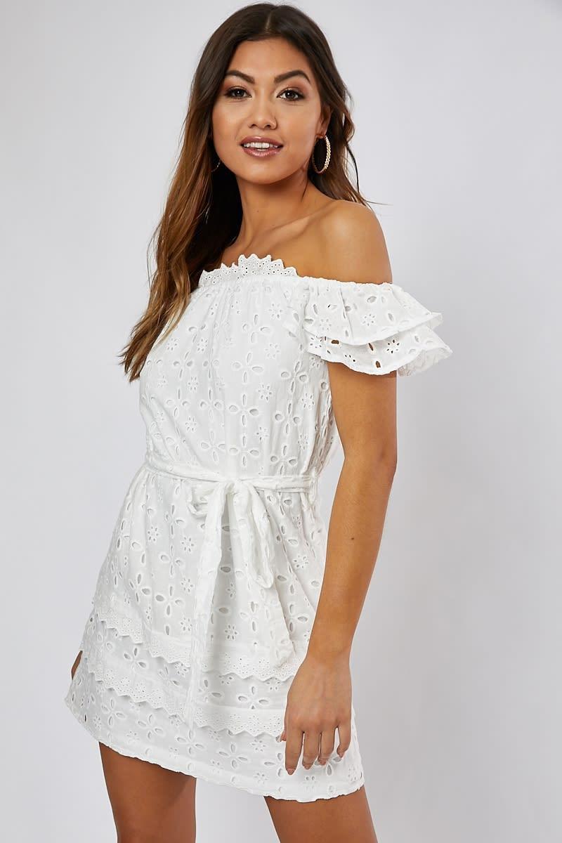 9a5b1ea8ec Babette White Broderie Self Belt Bardot Dress