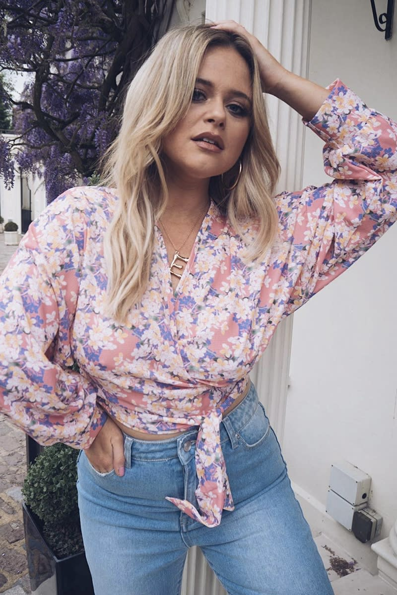 9a864f06185 Emily Atack Pink Floral Print Crepe Wrap Top