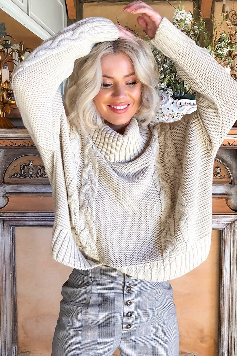 b9834ae39 Laura Jade Stone Cropped Cable Knit Jumper