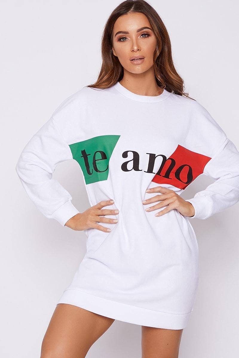 8240b6d7e0 Te Amo White Striped Sweater Dress