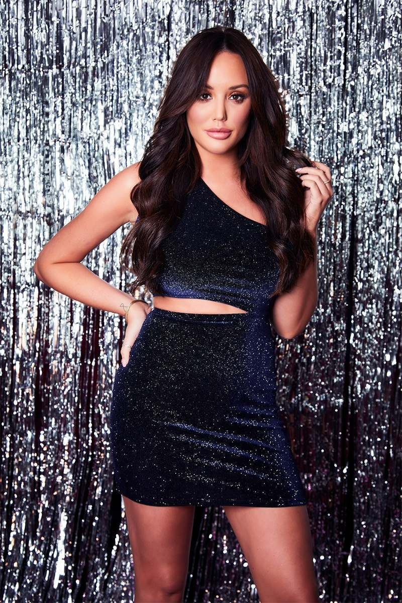 623b14b9f29 Charlotte Crosby Navy Glitter Velvet Asymmetric Cut Out Mini Dress ...