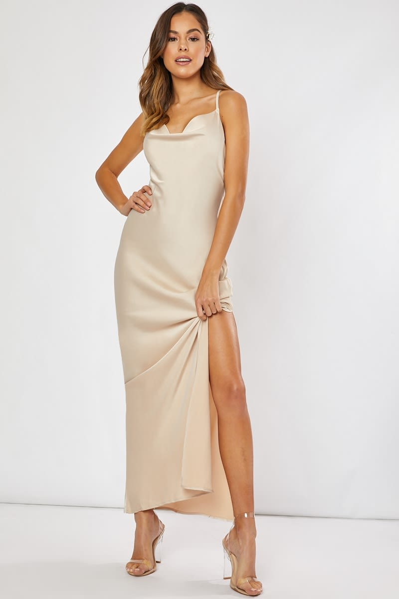 fd1d38f18f1 Waverly Gold Satin Cowl Neck Cross Back Maxi Dress