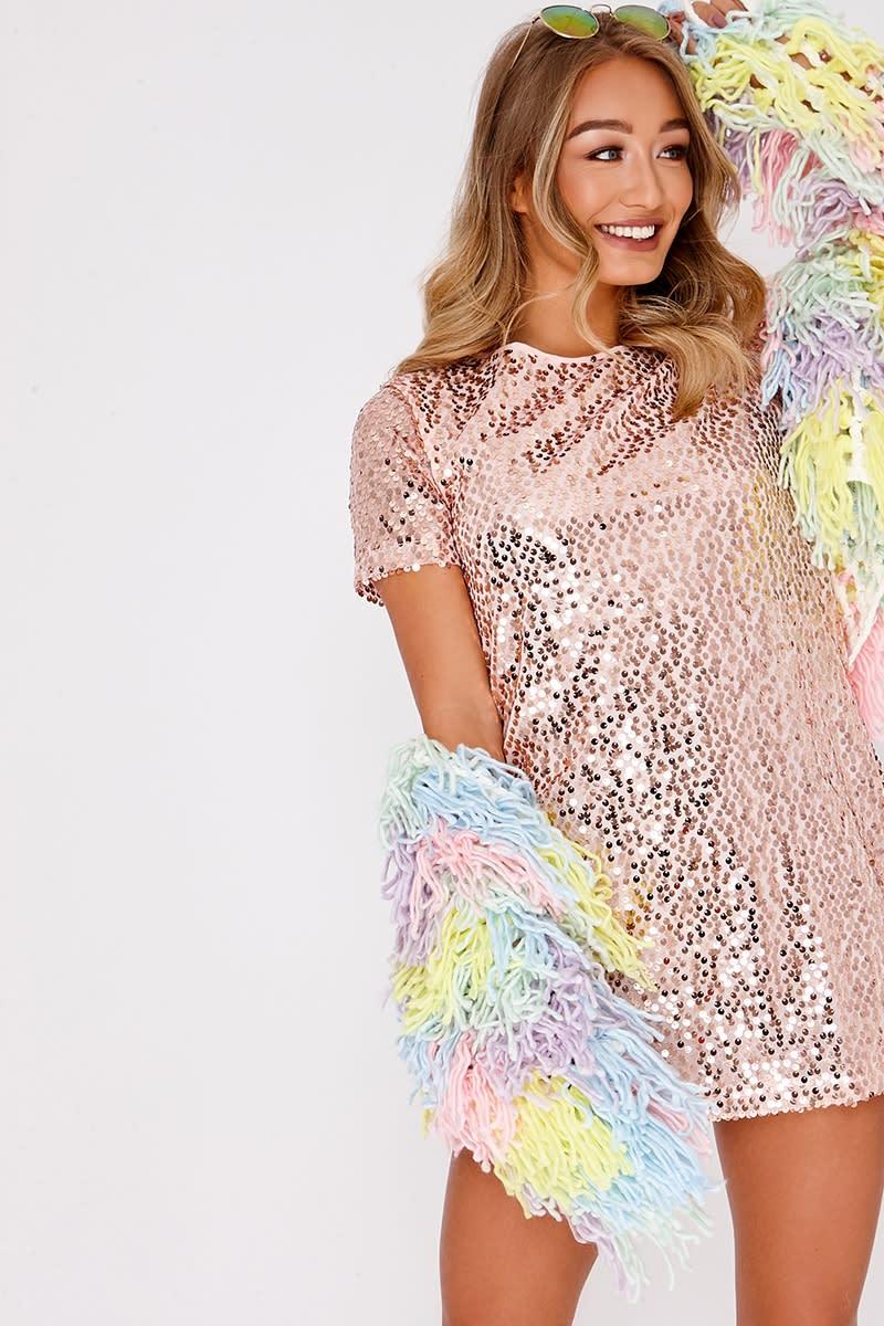 a1bc680293 MADELINE ROSE GOLD SEQUIN T SHIRT DRESS