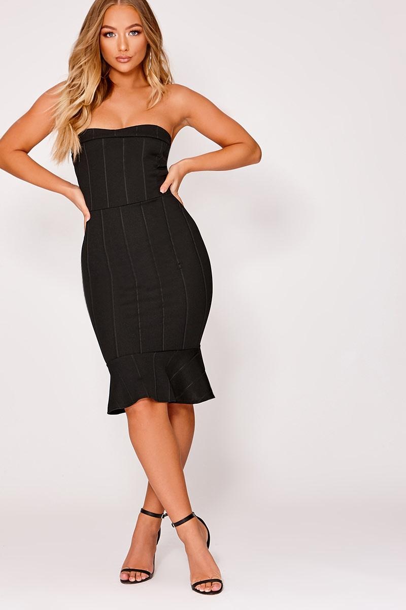 ce6b9acb45e Billie Faiers Black Bandeau Bandage Pephem Midi Dress