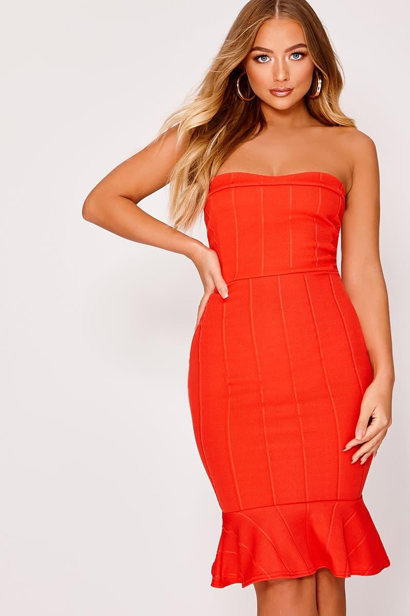 37a47a38d73 Billie Faiers Red Bandeau Bandage Pephem Midi Dress