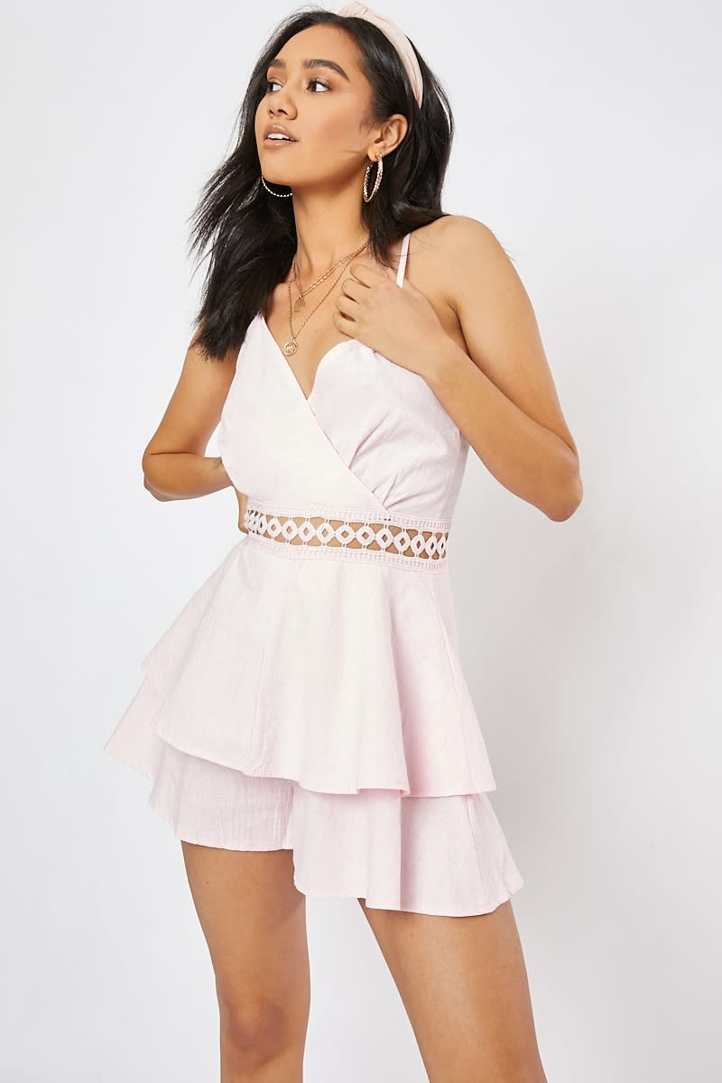 ccb4e271df Almah Pink Crochet Trim Layered Wrap Playsuit
