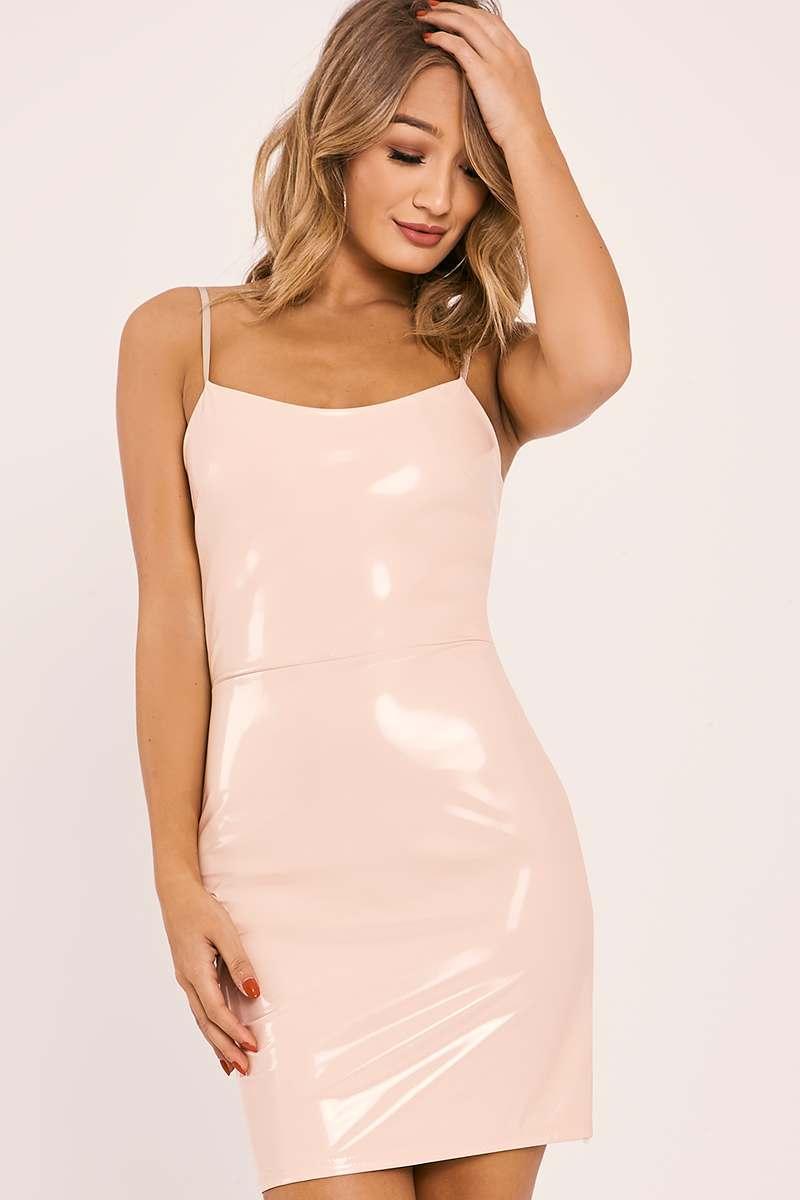 89ffbbf592c Caryn Nude Vinyl Strappy Bodycon Dress