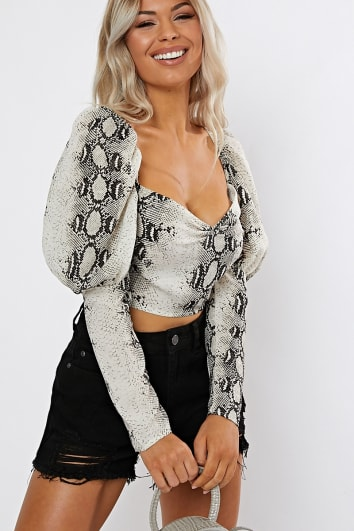OSAIN SNAKE PRINT PUFF SLEEVE TOP